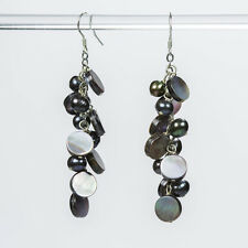 Black Pearl and Lip Shell Earrings with 925 Silver Hook Natural Pearl Cluster