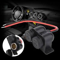 Double Ports Waterproof Motorcycle Car Cigarette Lighter Power Socket 12V NU