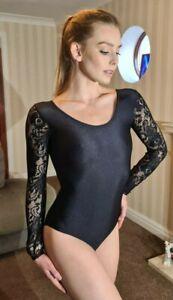 "Black Shiny Long Sleeved Lace Leotard Dance Body Lycra Spandex Large UK 14 38"""