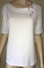 ELLEN TRACY Short Sleeve Top Gold Hardware w/ Tie Size L Bright White NWT $69