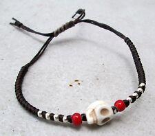 NiCe! Hmong Hill Tribe Unisex Silver & Hemp Adjustable Skull Bracelet