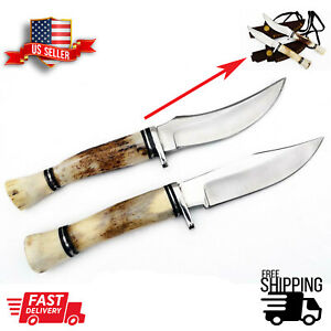 Pair of Stag Antler Handle with Sheath Hand Forged Steel Skinner Hunting Knife