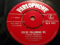"""PETER GORDENO * YOU'RE FOLLOWING ME * 7"""" SINGLE PARLOPHONE VERY GOOD (1962)"""