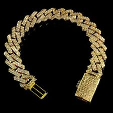 18K Gold Plated Flooded Out Iced Lab Diamond Prong Set 14mm Cuban Link Bracelet