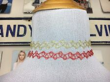 Bundle Of 2 Brandy Melville Tattoo Choker Necklaces Red Yellow Lot New 90s