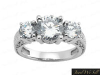 Natural 0.5ct Round Diamond 3Stone Antique Engagement Ring 18K White Gold G SI1