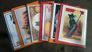 Pack of 6 witches' cats Halloween cards, Samhain, witch, pagan, All Hallows Eve