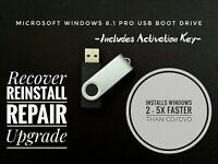 Windows 8.1 Pro 32 or 64 Bit USB Flash Drive Install Repair Recover License