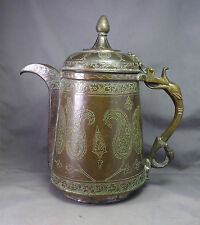 Antique Persian Inscribed Copper Ewer Coffee Pot Indo-Persian Islamic Dallah