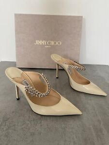 NEW Jimmy Choo Linen White Bing 100 Crystal Leather Mules 37.5 4 5 £750 Box