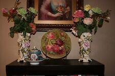 2 Stunning Antique 19th C Von Schierholz German Porcelain Vases Applied Roses