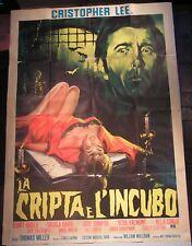 Manifesto  LA CRIPTA E L'INCUBO 1964 CHRISTOPHER LEE THOMAS MILLER Piovano RARO