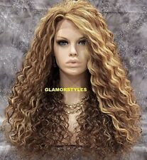 "30"" Long Spiral Curls Brown Blonde Mix Full Lace Front Wig Heat Ok Hair Piece"