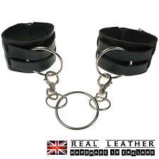 Nero Nuovo Fatto a Mano 100% Vera Pelle Design Anello Borchie Manette Made in UK
