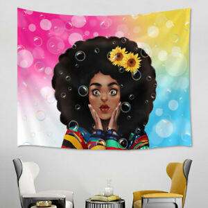 Sunflower African Black Girl Bubbles Tapestry Wall Hanging Living Room Bedroom