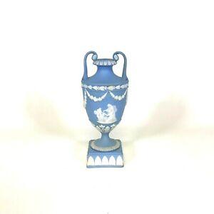 "19th Century Small Blue Wedgwood Jasperware Urn Vase 6.25"""