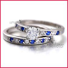 18K WHITE GOLD GF 1CT SIGNITY DIAMOND BLUE SAPPHIRE ANNIVERSARY WEDDING RING SET