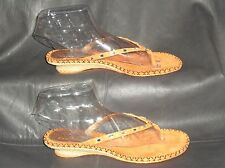 Cole Haan womens Orange leather w/Bling trim thong slide mule sandal size 9M