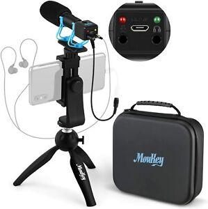 Moukey Camera Video Microphone Kit Monitor Shotgun Mic iPhone DSLR w/ Tripod