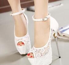 Womens Lace High Heel Sandal Peep Toe Platform Stiletto Party Shoes Wedding Pump