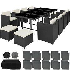 Salon de Jardin 12 Places Mobilier Résine Tressée et Aluminium Chaises et Table