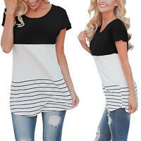 Summer Women Short Sleeve Crew Neck Striped T-Shirt Casual Loose Tops Blouse Tee