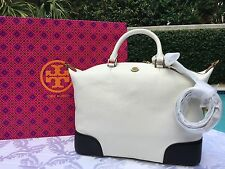 TORY BURCH FRANCES COLOR-BLOCK SLOUCHY SATCHEL NEW IVORY/BLACK NWT $495+GIFT BAG