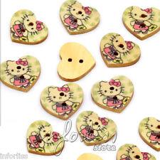 10 Botones de madera con forma de corazón de Hello Kitty