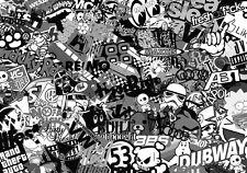 NEW STICKERBOMB SHEET @A5 SIZE x2 BLACK & WHITE (FREE P&P!!) VW/DRIFT/JDM/iphone