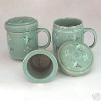 Celadon Green Art Pottery Ceramic Porcelain Green Duck Miniature Figurine Set