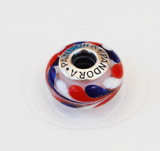 Genuine Pandora Red, White and Blue Glass Swirl Charm 790937 - retired