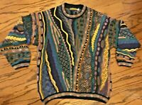 SEVEN OAKS 3D knit 100%cotton Coogie Style Bill Cosby Multi-color 80's Sweater L