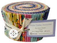 "Clothworks, Make Today Awesome, Strip Roll 2.5"" Fabric Quilting Strips, J06"