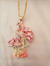 Pink Rhinestone & Enamel Flamingo Necklace *100% Donation 2 cure K9 Cancer