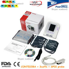 Digital Blood Pressure Monitor Adult/Pediatric Upper Arm BP Cuffs+SW+SPO2 Probe