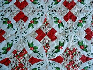 Poinsettia Quilt Queen With Shams Christmas Holiday Quilt New