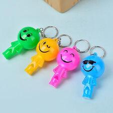 Smiley Face Novelty Pendant Key Chain LED Light Luminous 6cm Whistle Key Ring