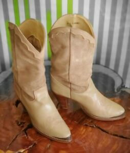 Vintage Zodiac USA Womens Size 8 M Tall Pull On Cowgirl Boot model 518081 Tan