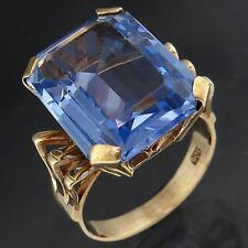 Vintage Big Bold 10ct Blue SPINEL 9k Solid Yellow GOLD COCKTAIL RING Sz N1/2