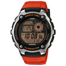 Casio World Time LCD Digital Wrist Watch Orange Rubber Band LED Light Sport