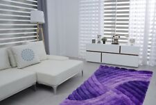 Swirls Lilac Luxurious 3d Effect Modern Soft Silky Thick Pile Contemporary 2