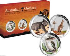 2012 AUSTRALIAN OUTBACK SILVER COLOURED COIN SET of 3 Koala Kangaroo Kookaburra