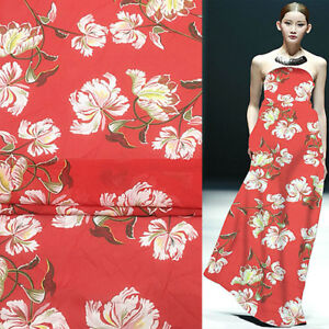 Silk georgette gauze fabric transparent for summer floral print on red,SCG336
