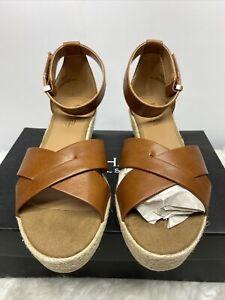 Michael Shannon Women's Brown Sylvie - Ankle Strap Peep Toe Sandal Size 8M NEW