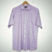 Rodd & Gunn Button Up Checkered Mens Shirt Size Large Short Sleeve Pink Blue