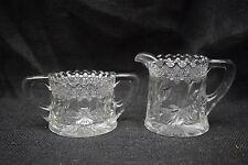 RARE!!   Crystal Creamer & Open Sugar Bowl by Jenkins Glass Co. - Dahlia