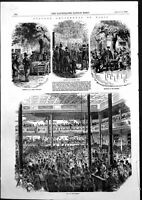 Antique Old Print Amusements Paris Cheap Wine Shop Ball Skittles Barrier 1855