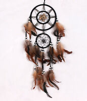 Brown Dream Catcher With feathers Wall Hanging Decoration Decor Ornament Gift S2