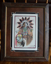 Indian Art Wall Frame Picture Print Cervantes 2000 Tomahawk Indian Sun Catcher