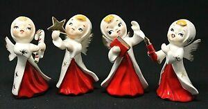 VINTAGE 1950's Set of 4 HP Porcelain Christmas Angels JAPAN, White & Red REPAIRS